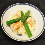 Risotto with asparagus, prawns and Parmesan shavings